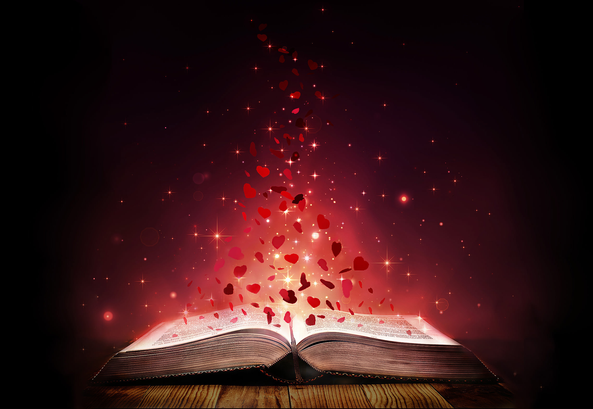 open books with glowing hearts